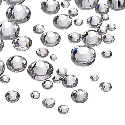Outus 1000 Pieces Clear Flat Back Rhinestones Round Crystal Gems 1.5 mm - 5 mm, 5 Sizes ()