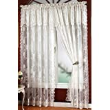 "Carly Lace - 84"" curtain panel - Color : WHITE"