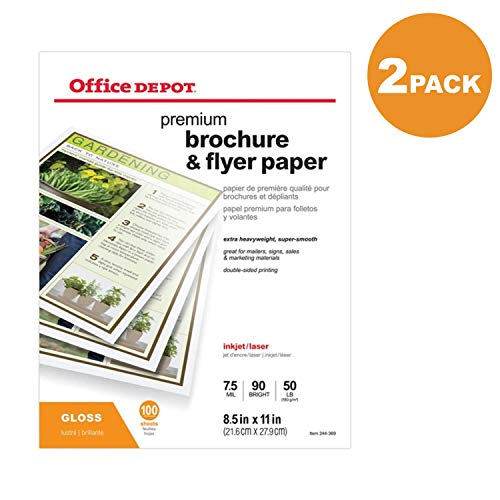 (Office Depot Professional Brochure and Flyer Paper, Glossy, 8 1/2in. x 11in, 50 Lb, 2-Pack of 100 Sheets Each )