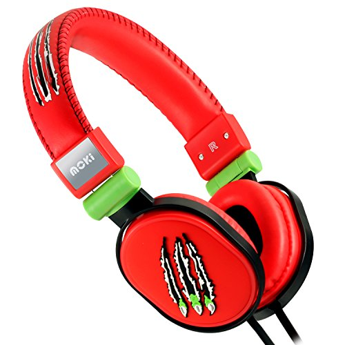 Moki ACCHPPOB Claw Soft Cushion Headphones, Red by Moki International