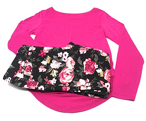 Price comparison product image Jordache and Faded Glory Jeggings and Tee Shirt Set, Assorted Sizes and Colors (Black/Pink Roses, L/G 10-12)