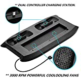Xbox One S Vertical Stand Cooling Fan Controller Charging Station with Game Storage & Dualshock Charger