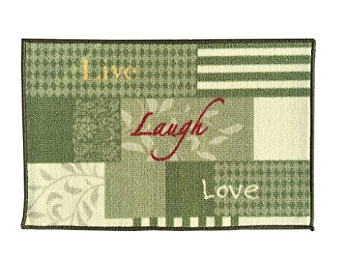 (Gourmet Club Anti-Slip Printed Kitchen Rug 18-Inch by 28-Inch, Live Laugh Love)