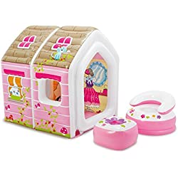 "Intex Princess Play House, Inflatable Play House with Air Furniture, 49"" X 43"" X 48"", for Ages 2-6"