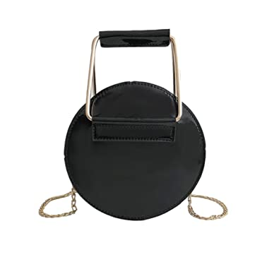 353b1b09ae Everpert Women Shoulder Metal Handle Bag PU Leather Round Chain Crossbody  Bag Black