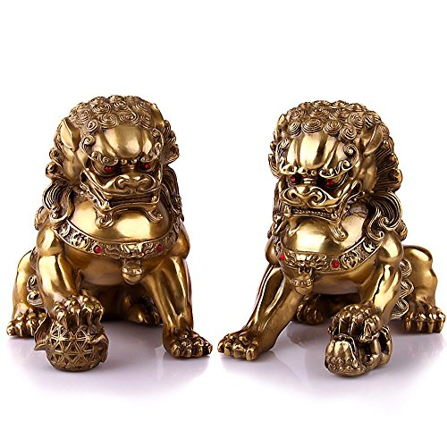 Wenmily Large Size Wealth Porsperity Pair of Brass Fu Foo Dogs Guardian Lion Statues,Best Housewarming Congratulatory Gift to Ward Off Evil Energy,Feng Shui Decor - Chinese Lion Statues