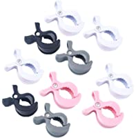 limmyun Set of 10 Stroller Pegs Pushchair Car Seat Cover Clips Muslin Pram Blanket Clamp Toy Holder (White/Black/Gray/Pink)