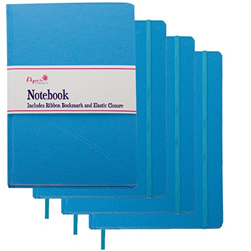 Paper Craft (4 Pack) 8.5 x 5.5 Leatherette Lined Writing Journals Wide Ruled Banded Notebook with Ribbon Bookmark, Turquoise Blue, (a5 Size)