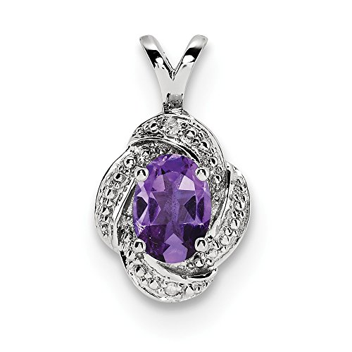 Sterling Silver Diamond & Simulated Amethyst Pendant (10mm x 16mm)
