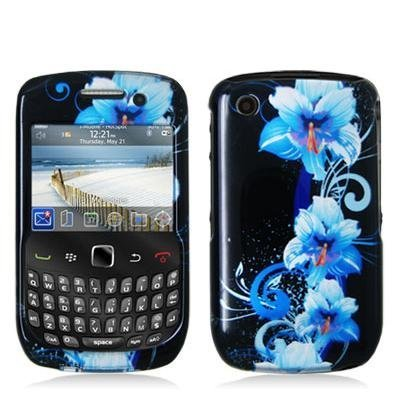 Blue Flower Design Crystal Hard Skin Case Cover for Blackberry Curve 8520 8530 3G 9300 9330 Phone New By (Blackberry 8520 Curve Cover)