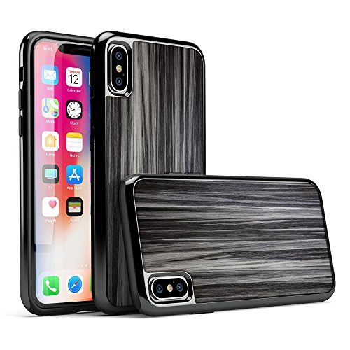 Allure Collection - Hybrid Remix Luxurious Textured Wood iPhone Case (Black Metallic Ebony / iPhone 8)