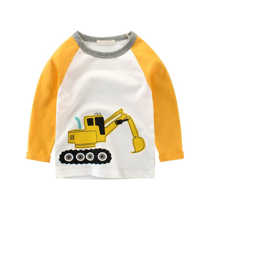 Luerme Little Boys' Cotton T-Shirt Long Sleeve Toddler Infant Kids Cartoon Car Printing Casual Tee (4-5 Years, Excavator)