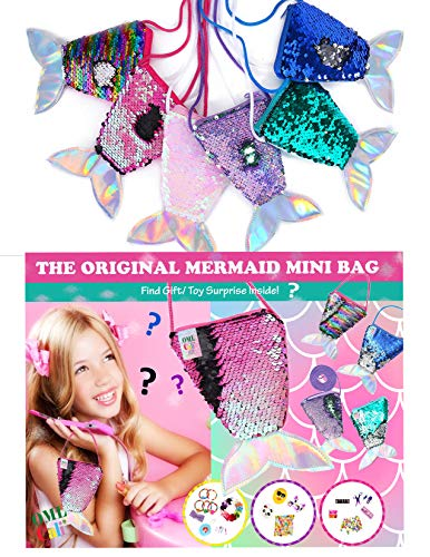 - OML CALI Original Mermaid Sequins Plush Little Bag - Filled with Toy Surprise – Fun, Style, Toy – Perfect Novelty Gift for Girls 3 to 10 Years Kids – 2 Pack OR 1 Pack (1 Pack - Colorful)
