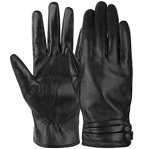 Cackss Women's Winter Gloves Touchscreen PU Faux Leather