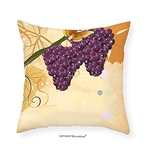 VROSELV Custom Cotton Linen Pillowcase Grapes Home Decor Fruits with Butterflies in the Sky Leaf Winery Season Illustration for Bedroom Living Room Dorm Orange Purple 16