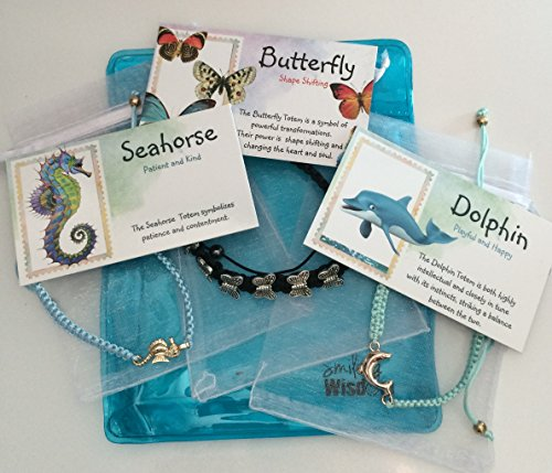ramé Totem Friendship Bracelet Seahorse, Butterfly, Dolphin Gift Sets - 3 Spirit Animal Gifts For Children, Tweens, Teens, Girls - Team Morale Events, Ice Breakers, Favors, Stoc (Animal Dolphins Bracelet)