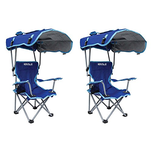 Price comparison product image Kelsyus Kids Original Canopy Folding Backpack Lounge Chair (2 Pack) Blue | 80316