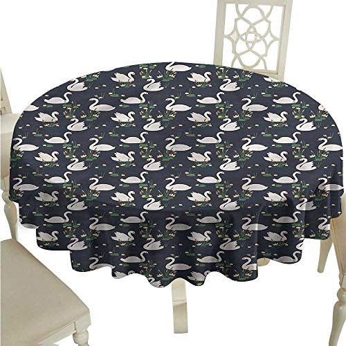 Cattail Candle (ScottDecor Tassel Tablecloth Swan,Lilies Cattails Waterfowls Circular Table Cover Round Tablecloth D 54