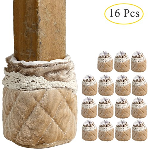 Cover Tan Flannel (Chair Leg Floor Protectors Caps, WarmHut 16pcs Table Furniture Leg Feet Tips Cloth Socks, Wood Floor Protector (Flannel Tan))