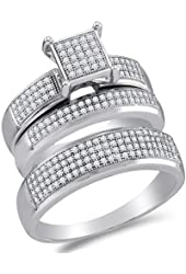 10K White Gold Diamond Mens and Ladies Couple His & Hers Trio 3 Three Ring Bridal Matching Engagement Wedding Ring Band Set - Square Princess Shape Center Setting w/ Micro Pave Set Round Diamonds - (.63 cttw) - Please use drop down menu to select your desired ring sizes
