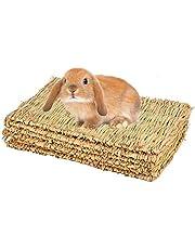 CAMITER Maty na trawę dla małych zwierząt, zabawka dla zwierząt, łóżko dla królików, naturalne, ręcznie tkana mata trawiasta bezpieczna i jadalna, dla chomików, królików, papugi, świnek morskich i fretek (4 sztuki)