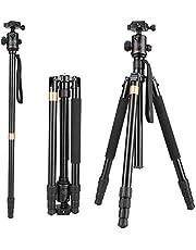 "Vivider (TM) 62"" Max Load 8KG 17.6LBS Professional Aluminum Camera Tripod Monopod with Ball Head Quick Release Board Compatible with DSLR Tripod (Canon, Nikon, Pentax, Sony, Leica, Fuji, Lumix, Olympus) Super Light-weight Golden"