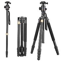 Vivider (TM) 62 Max Load 8KG 17.6LBS Professional Aluminum Camera Tripod Monopod with Ball Head Quick Release Board for DSLR Tripod (Canon, Nikon, Pentax, Sony, Leica, Fuji, Lumix, Olympus) Super Light-weight Golden