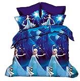 Fantacy 3D Frozen Princess Elsa& Anna Frozen Sister Kid Room Bedding Set Flat Sheet Queen/Twin Size Duvet Cover Bed Sheet Pillow Case