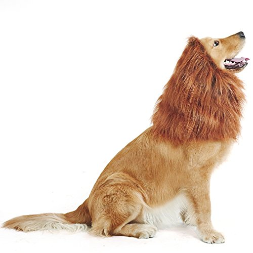 Lion Mane Costume For Large Dogs (GABOSS LLL30 Lion Mane Costume, Lion Wig for Dog Large Pet Festival Party Fancy Hair Dog Clothes, Dark Brown)