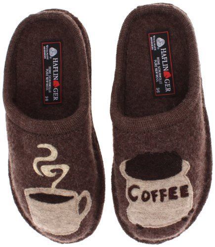 HAFLINGER Unisex Coffee Wool Slippers, Earth, 39EU (Mens Boiled Slippers)
