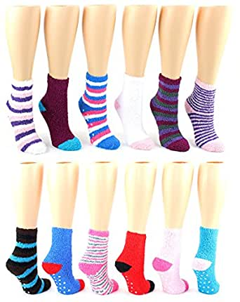 Women S Warm Fuzzy Ankle Socks With Grips 3 Pack At Amazon