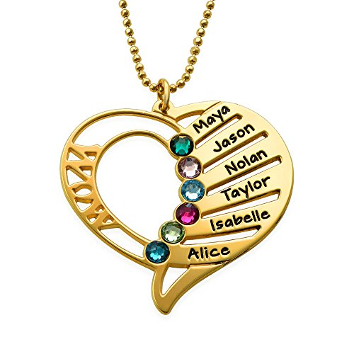Engraved Mom Necklace Made with Swarovski Crystals-Heart Pendant 18k Gold Plated - Pendant Heart Name