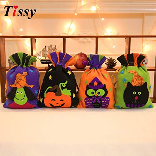 Trick Or Treat Bucket Trick Or Treat Totes 1PC Halloween Candy Bags Trick or Treat Gift Bag Halloween Gift Holders Non-woven Holder Bags Halloween Party Kids Gift (Random) ()