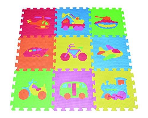(POCO DIVO Transportation Puzzles Play Mat 9-tile EVA Foam Rainbow Floor)