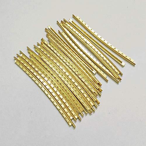 Gold Fret - Vencetmat 20Pcs Brass Curved Frets for Acoustic Guitar Fingerboard Fret Wire Replacing Gold