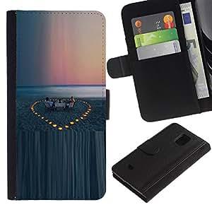 WINCASE (No Para S5) Cuadro Funda Voltear Cuero Ranura Tarjetas TPU Carcasas Protectora Cover Case Para Samsung Galaxy S5 Mini, SM-G800 - mar puesta de sol playa