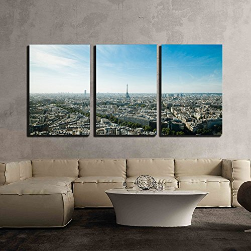 Aerial View of Paris City France x3 Panels