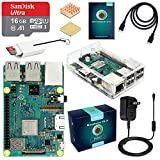 ABOX Raspberry Pi 3 Model B+ (B Plus) Motherboard Starter Kit (16GB Class 10 SanDisk Micro SD Card, 5V 2.5A on/Off Switch Power Supply, 2 Pcs Heatsinks, Premium Clear Case & HDMI Cable) [Model 2018