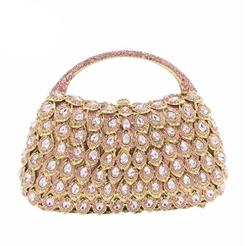 Rhinestone Crystal Tote Purse Wedding ZJ Metal Handle Bag 2 Women Clutch amp;OS Evening Party Handbag EFBqTw