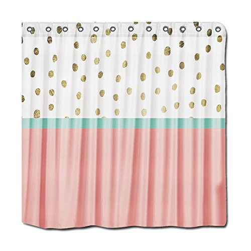 Yyt Shower Curtain Yyt Shower Curtains Coral Teal Color Block Gold Foil Polka Dots Shower