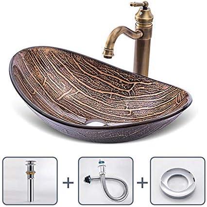 洗面ボウル カウンターシンクオーバル強化ガラス容器シンククローム蛇口コンボ、ポップアップシンクの排水の上バスルーム 浴室の台所の流し (Color : E, Size : 54x36x16cm)