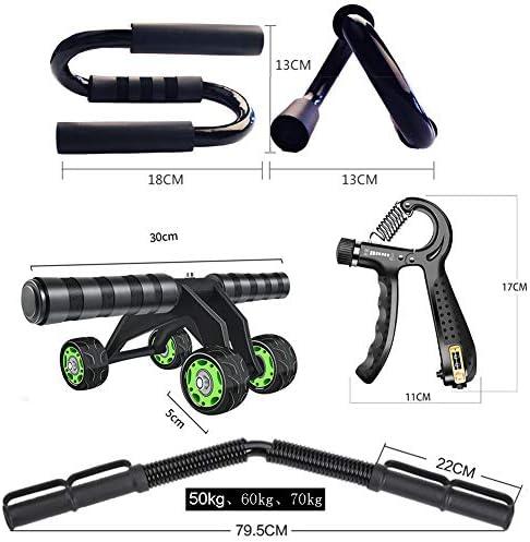 エクササイズフィットネスアームワークアウトセット、6個の筋力トレーニング機器、パワーツイスターバー、Abローラー、リストトレーナーボール、グローブ、プッシュアップスタンドハンドル、ハンドグリップストレ