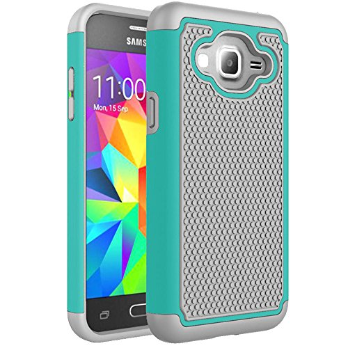Price comparison product image Galaxy J3 2015 Case, Firefish [Football Pattern] 2 in 1 Soft Silicone+PC Hybrid Dual Layer Armor Case Shock Absorbing Impact Resistant Protective Cover For Samsung Galaxy Galaxy J3 2015 -Emerald