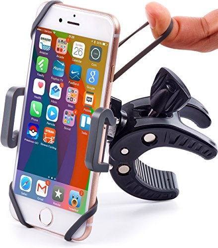 Bike & Motorcycle Phone Mount – For iPhone 7 (5, 6, 6s Plus), Samsung Galaxy or any Cell Phone – Universal ATV, Mountain, City & Road Bicycle Handlebar Holder. +100 to Safeness & Comfort