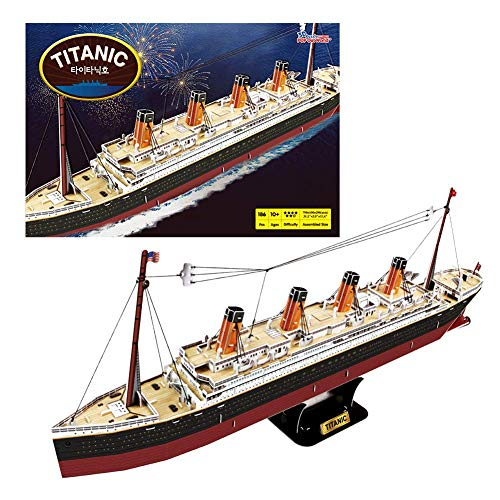 The Titanic 3D Building Puzzles for Adults and Kids | 186 Pieces | Ship Model Kit Replica Toy | by POP-OUT WORLD ()