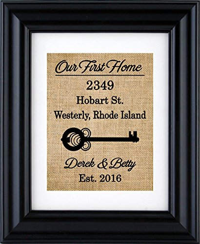 Our First Home Sign, First Home Burlap Print, Housewarming Gift, New Home Burlap Wall Decor, New Home- House Warming Gift- 2H (Frame not (Laminated House)