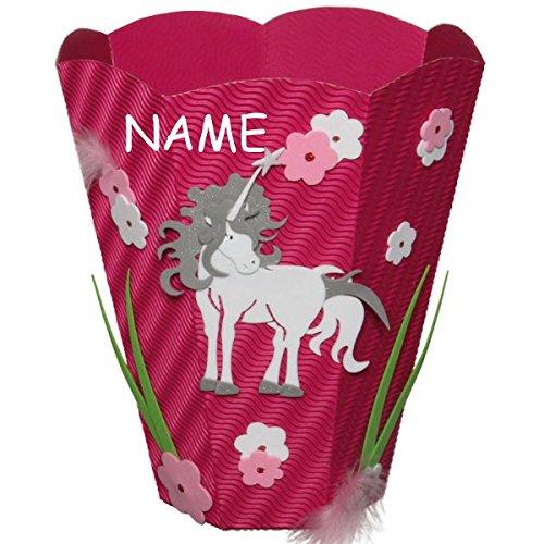 Unbekannt Bastelset Papierkorb - Einhorn Mülleimer rosa Mädchen - incl. Namen Kinder-Land