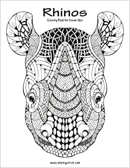 amazoncom rhinos coloring book for grown ups 1 volume 1 9781539748441 nick snels books - Coloring Book For Grown Ups