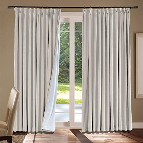 - cololeaf Pinch Pleat Blackout Velvet Solid Curtain Thermal Insulated Patio Door Curtain Panel Drape for Traverse Rod and Track, Cashmere Curtain with Greyish White Lining 100W x 96L Inch(1 Panel)