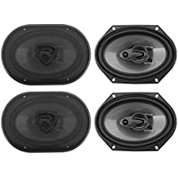 (4) Rockville RV68.3A 6x8 3-Way Car Speakers 1800 Watts/340 Watts RMS CEA Rated